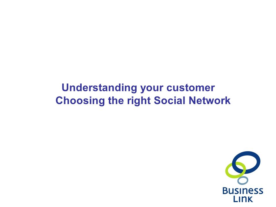 Understanding your customer Choosing the right Social Network