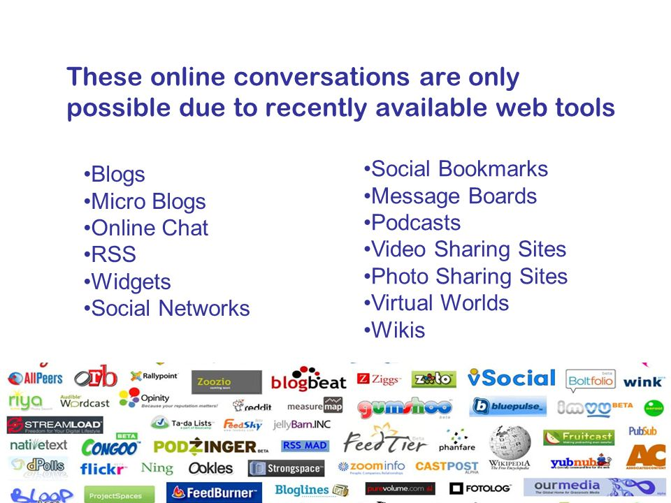 These online conversations are only possible due to recently available web tools Blogs Micro Blogs Online Chat RSS Widgets Social Networks Social Bookmarks Message Boards Podcasts Video Sharing Sites Photo Sharing Sites Virtual Worlds Wikis