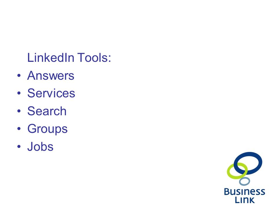 LinkedIn Tools: Answers Services Search Groups Jobs