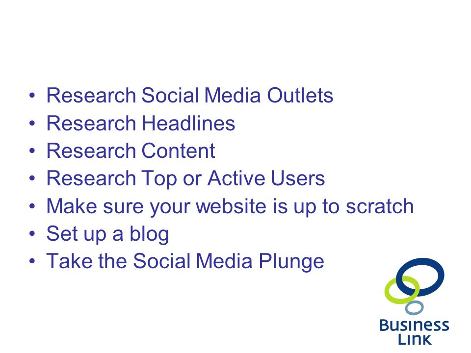 Research Social Media Outlets Research Headlines Research Content Research Top or Active Users Make sure your website is up to scratch Set up a blog Take the Social Media Plunge