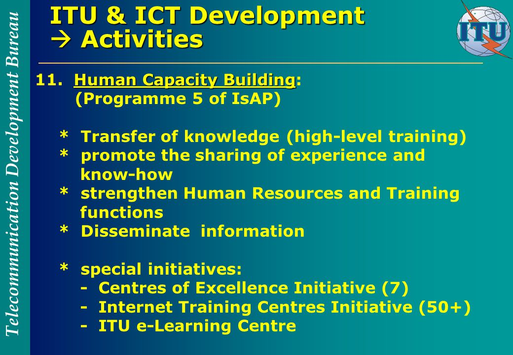Telecommunication Development Bureau ITU & ICT Development  Activities Human Capacity Building 11.