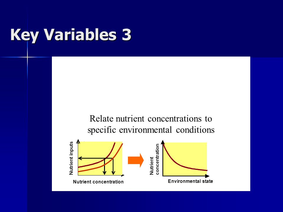 Relate nutrient concentrations to specific environmental conditions Environmental state Nutrient concentration B Nutrient concentration Nutrient inputs Key Variables 3