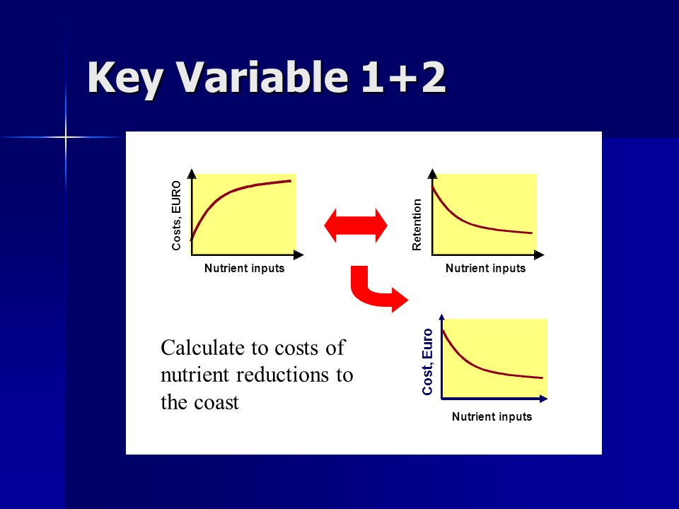 Nutrient inputs Costs, EURO Key Variable 1+2 Nutrient inputs Retention Calculate to costs of nutrient reductions to the coast Nutrient inputs Cost, Euro