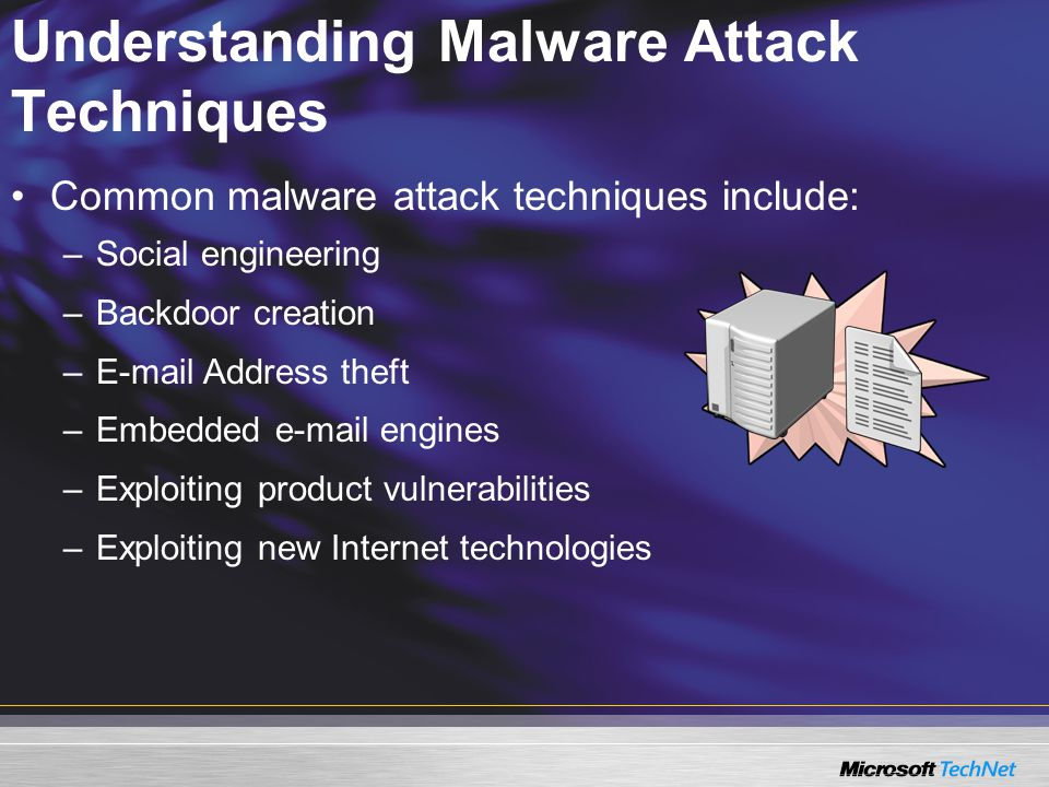 Understanding Malware Attack Techniques Common malware attack techniques include: –Social engineering –Backdoor creation – Address theft –Embedded  engines –Exploiting product vulnerabilities –Exploiting new Internet technologies