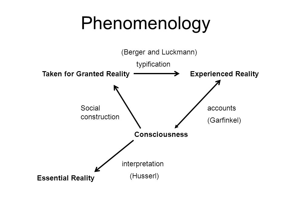 Phenomenology Essential Reality Taken for Granted RealityExperienced Reality Consciousness typification Social construction accounts interpretation (Berger and Luckmann) (Garfinkel) (Husserl)