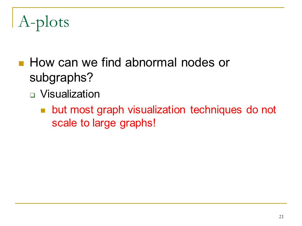 21 A-plots How can we find abnormal nodes or subgraphs.