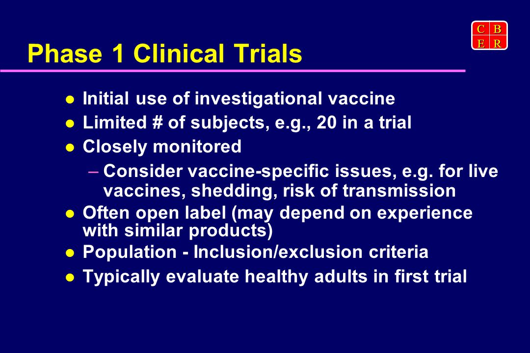CBER Phase 1 Clinical Trials Initial use of investigational vaccine Limited # of subjects, e.g., 20 in a trial Closely monitored –Consider vaccine-specific issues, e.g.