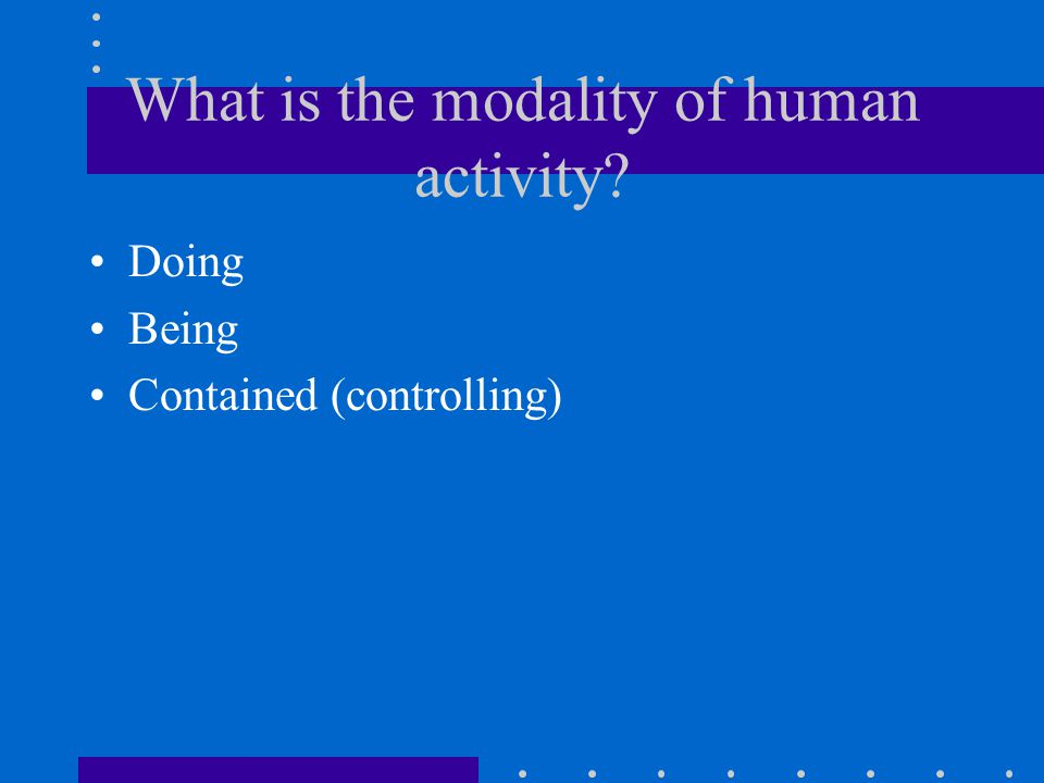 What is the modality of human activity Doing Being Contained (controlling)