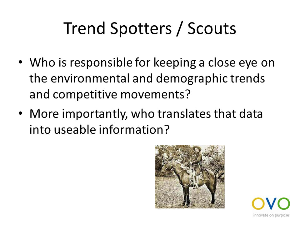 Trend Spotters / Scouts Who is responsible for keeping a close eye on the environmental and demographic trends and competitive movements.