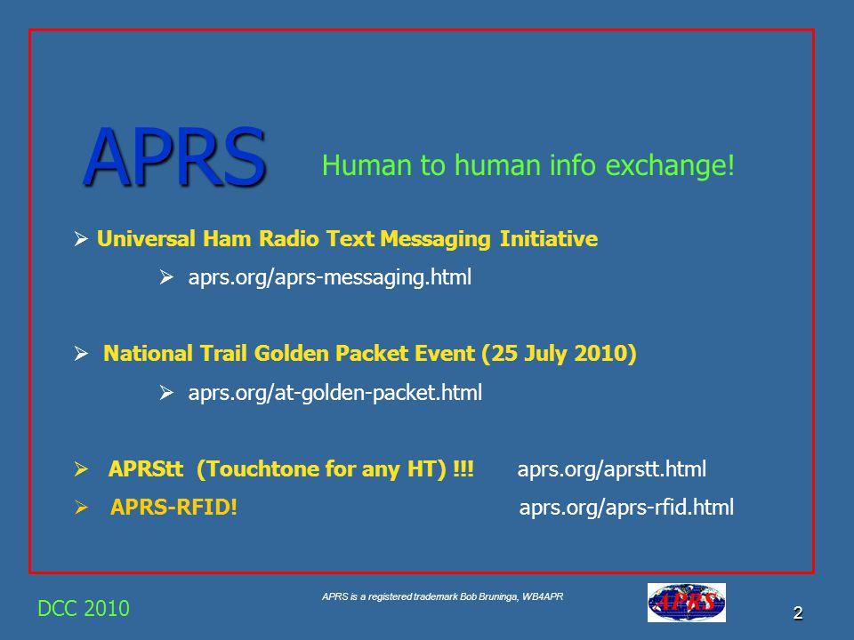 APRS is a registered trademark Bob Bruninga, WB4APR 1 APRS