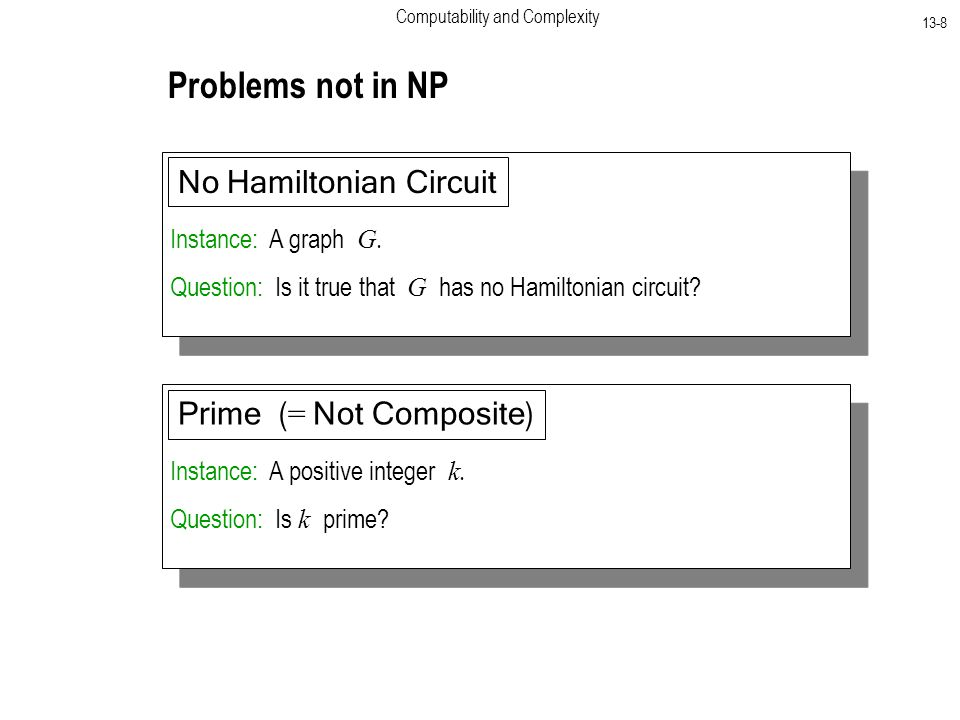 Computability and Complexity 13-8 Problems not in NP Instance: A graph G.