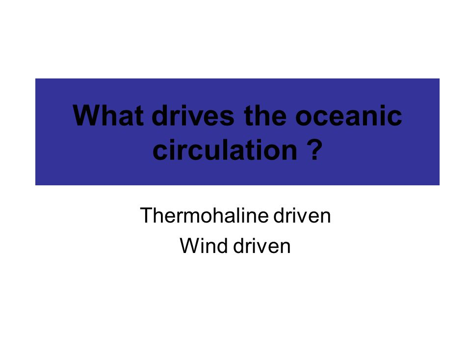 What drives the oceanic circulation Thermohaline driven Wind driven