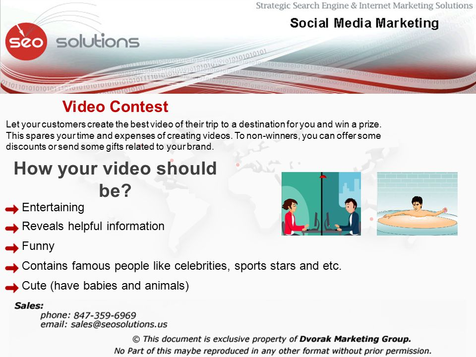 Let your customers create the best video of their trip to a destination for you and win a prize.