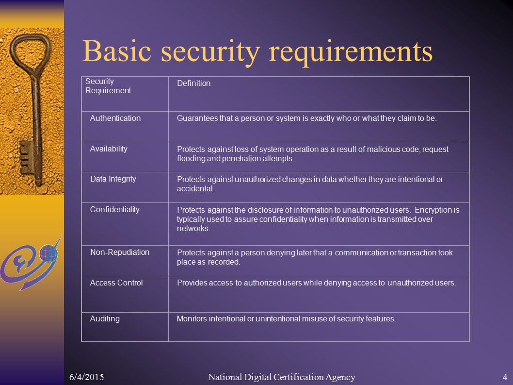 6/4/2015National Digital Certification Agency4 Basic security requirements Security Requirement Definition Authentication Guarantees that a person or system is exactly who or what they claim to be.