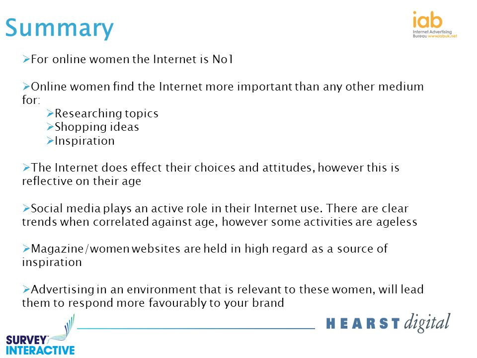 Summary  For online women the Internet is No1  Online women find the Internet more important than any other medium for:  Researching topics  Shopping ideas  Inspiration  The Internet does effect their choices and attitudes, however this is reflective on their age  Social media plays an active role in their Internet use.