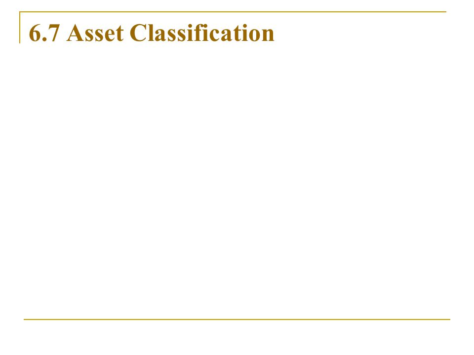 6.7 Asset Classification