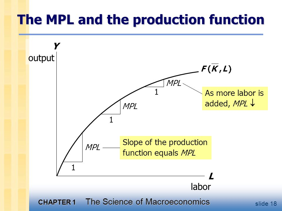 CHAPTER 1 The Science of Macroeconomics slide 18 Y output The MPL and the production function L labor 1 MPL 1 1 As more labor is added, MPL  Slope of the production function equals MPL
