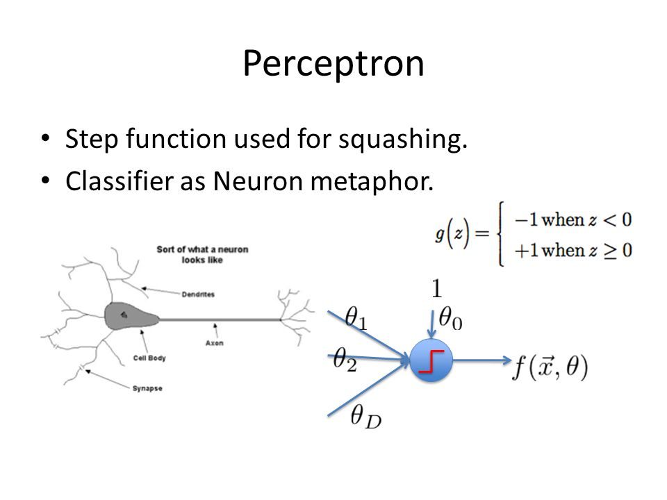Perceptron Step function used for squashing. Classifier as Neuron metaphor.