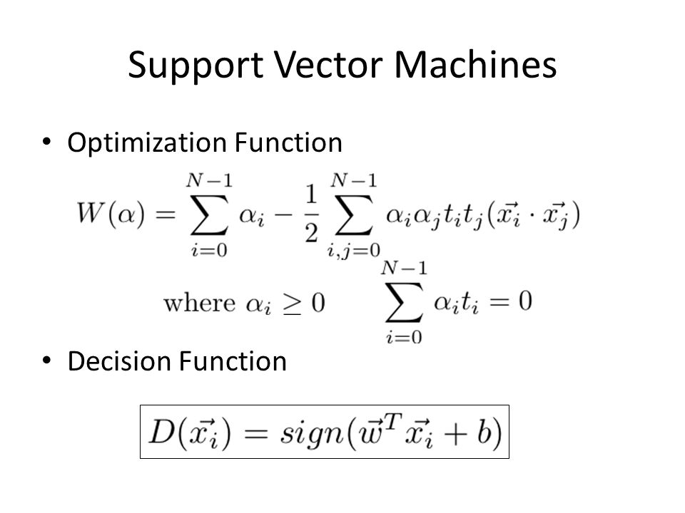 Support Vector Machines Optimization Function Decision Function