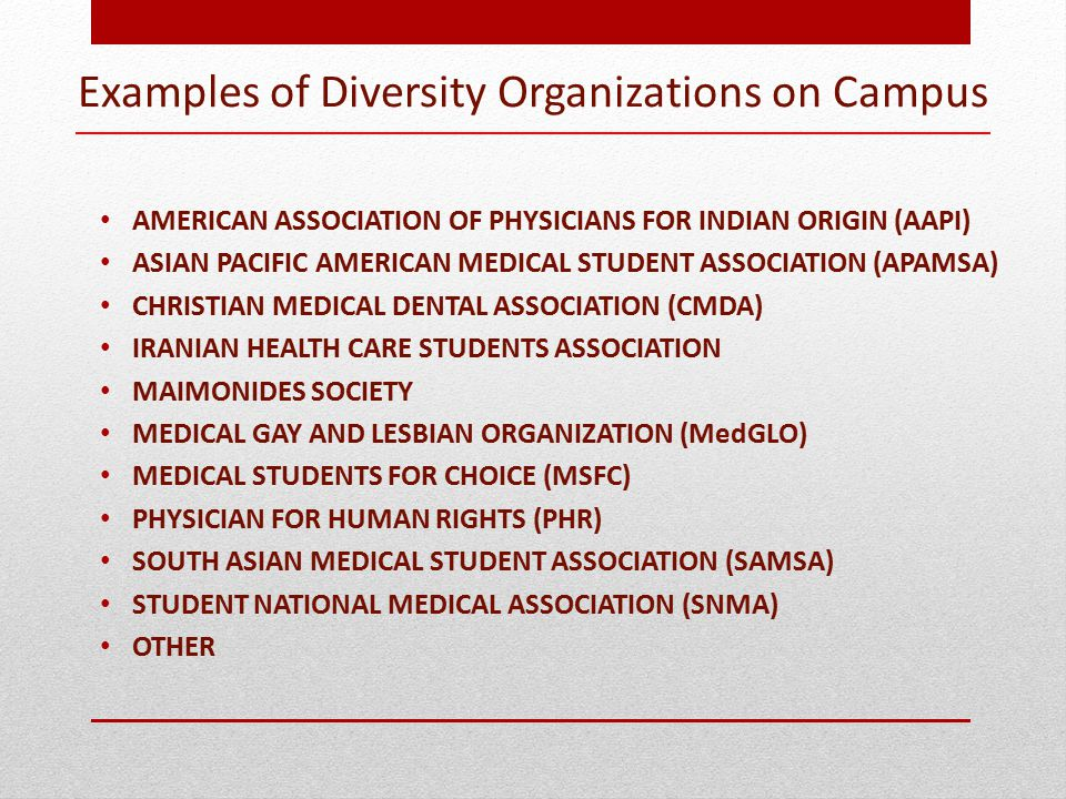 Examples of Diversity Organizations on Campus AMERICAN ASSOCIATION OF PHYSICIANS FOR INDIAN ORIGIN (AAPI) ASIAN PACIFIC AMERICAN MEDICAL STUDENT ASSOCIATION (APAMSA) CHRISTIAN MEDICAL DENTAL ASSOCIATION (CMDA) IRANIAN HEALTH CARE STUDENTS ASSOCIATION MAIMONIDES SOCIETY MEDICAL GAY AND LESBIAN ORGANIZATION (MedGLO) MEDICAL STUDENTS FOR CHOICE (MSFC) PHYSICIAN FOR HUMAN RIGHTS (PHR) SOUTH ASIAN MEDICAL STUDENT ASSOCIATION (SAMSA) STUDENT NATIONAL MEDICAL ASSOCIATION (SNMA) OTHER