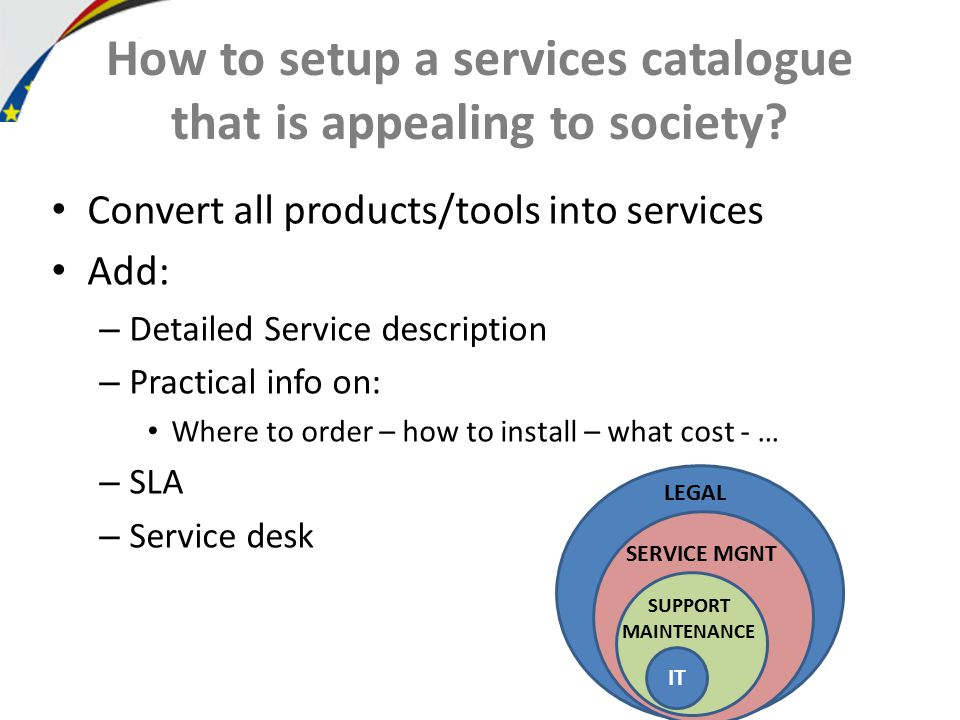 How to setup a services catalogue that is appealing to society.