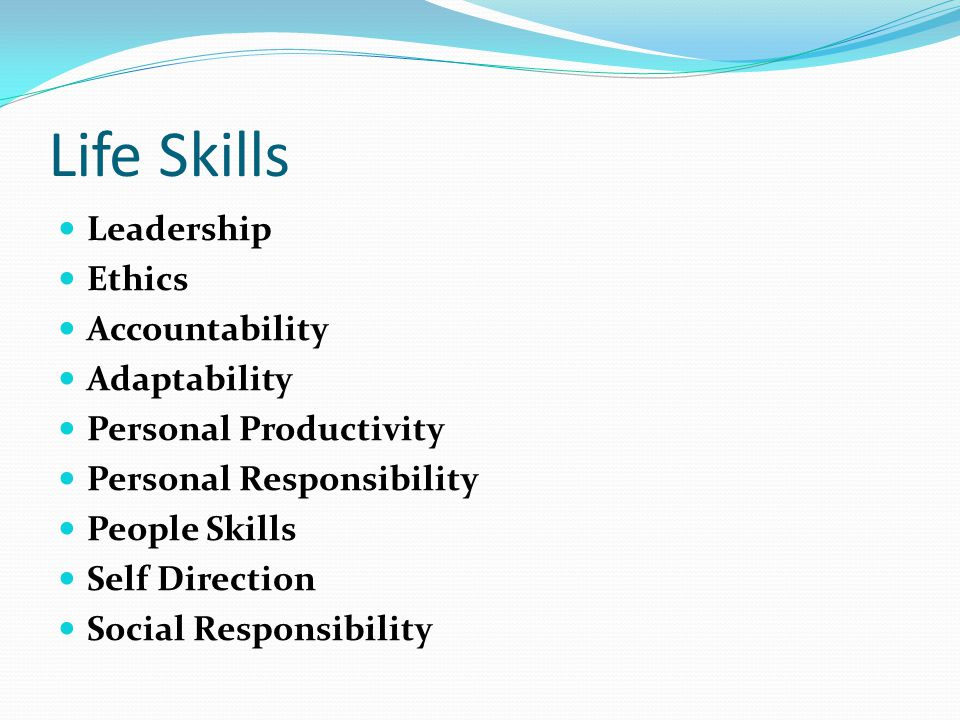 Life Skills Leadership Ethics Accountability Adaptability Personal Productivity Personal Responsibility People Skills Self Direction Social Responsibility