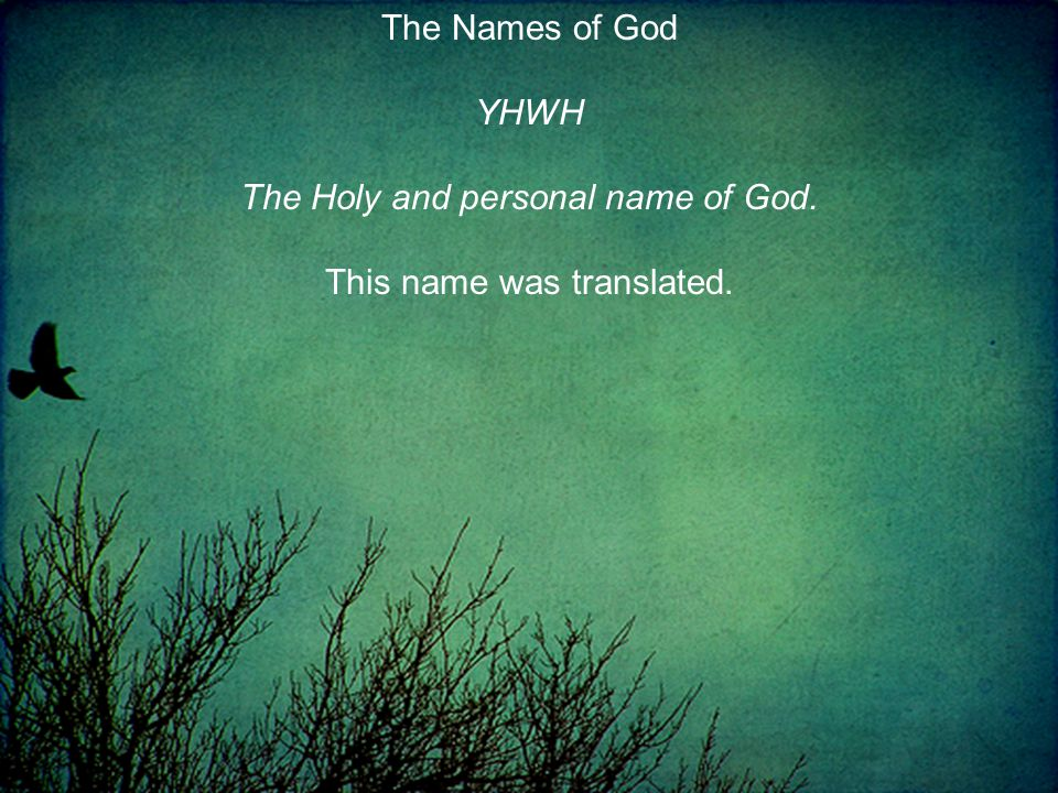 The Names of God YHWH The Holy and personal name of God. This name was translated.