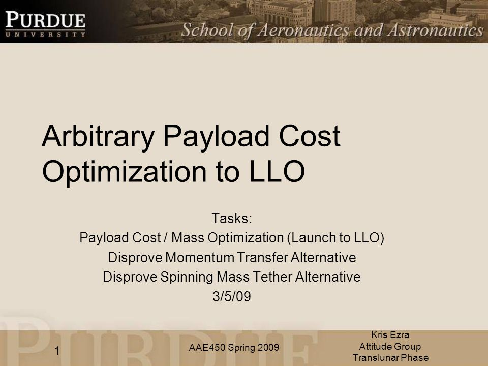 AAE450 Spring 2009 Arbitrary Payload Cost Optimization to LLO Tasks: Payload Cost / Mass Optimization (Launch to LLO) Disprove Momentum Transfer Alternative Disprove Spinning Mass Tether Alternative 3/5/09 Kris Ezra Attitude Group Translunar Phase 1