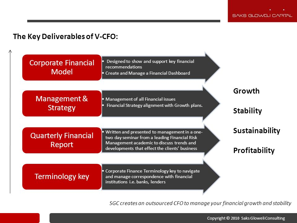 The Key Deliverables of V-CFO: Designed to show and support key financial recommendations Create and Manage a Financial Dashboard Corporate Financial Model Management of all Financial issues Financial Strategy alignment with Growth plans.