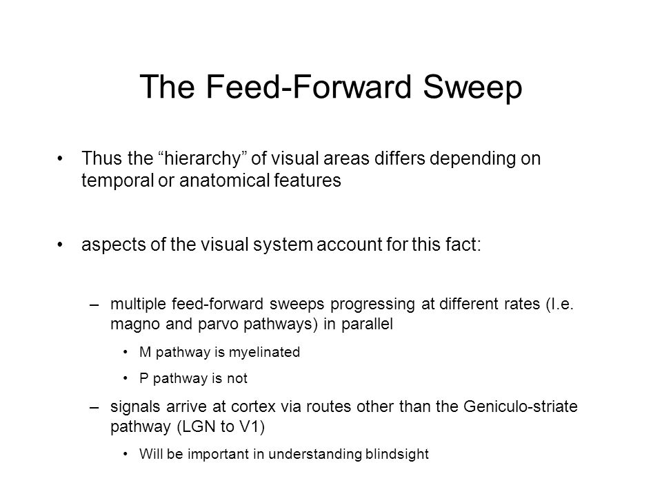 The Feed-Forward Sweep Thus the hierarchy of visual areas differs depending on temporal or anatomical features aspects of the visual system account for this fact: –multiple feed-forward sweeps progressing at different rates (I.e.