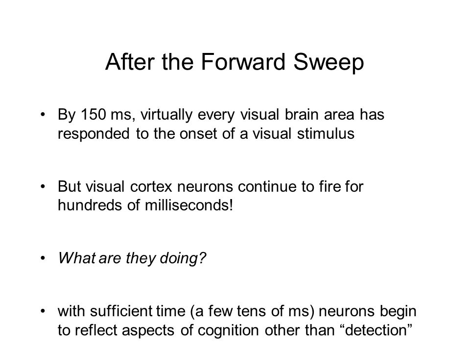 After the Forward Sweep By 150 ms, virtually every visual brain area has responded to the onset of a visual stimulus But visual cortex neurons continue to fire for hundreds of milliseconds.