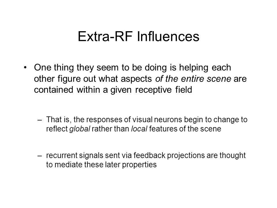 Extra-RF Influences One thing they seem to be doing is helping each other figure out what aspects of the entire scene are contained within a given receptive field –That is, the responses of visual neurons begin to change to reflect global rather than local features of the scene –recurrent signals sent via feedback projections are thought to mediate these later properties