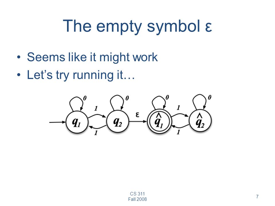 CS 311 Fall The empty symbol ε Seems like it might work Let's try running it…