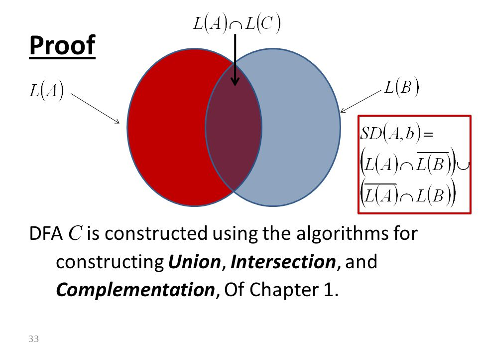 DFA C is constructed using the algorithms for constructing Union, Intersection, and Complementation, Of Chapter 1.