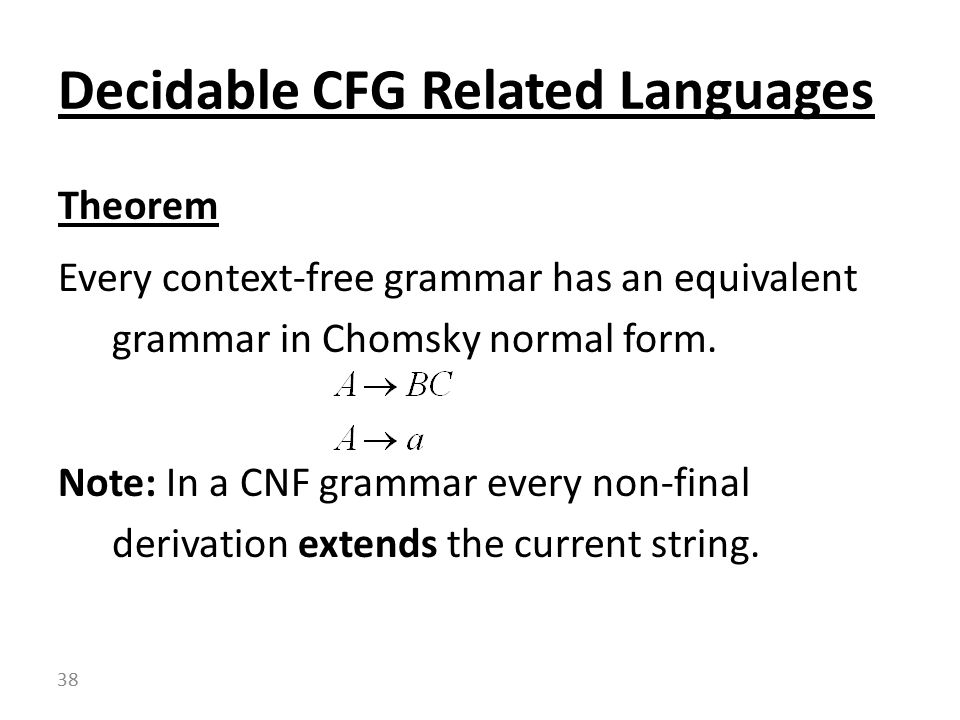 Theorem Every context-free grammar has an equivalent grammar in Chomsky normal form.