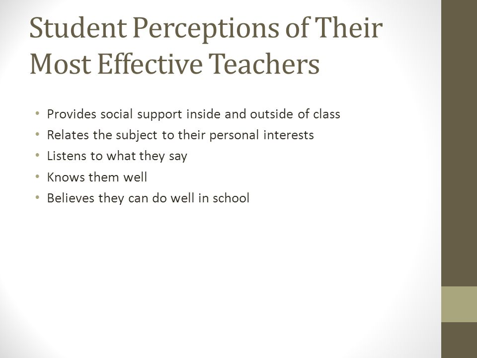 Student Perceptions of Their Most Effective Teachers Provides social support inside and outside of class Relates the subject to their personal interests Listens to what they say Knows them well Believes they can do well in school