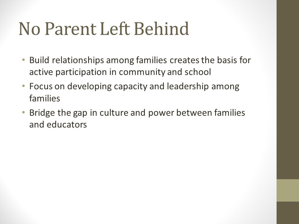 No Parent Left Behind Build relationships among families creates the basis for active participation in community and school Focus on developing capacity and leadership among families Bridge the gap in culture and power between families and educators