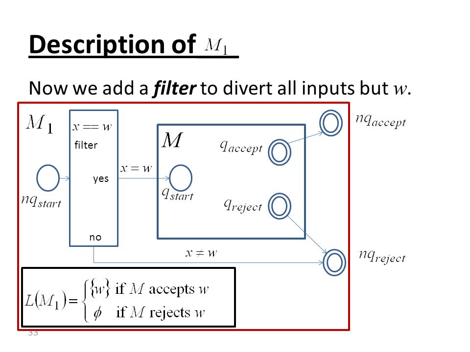 Now we add a filter to divert all inputs but w. Description of___ 33 filter no yes