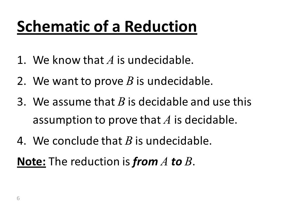 1.We know that A is undecidable. 2.We want to prove B is undecidable.