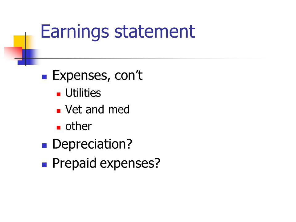 Earnings statement Expenses, con't Utilities Vet and med other Depreciation Prepaid expenses