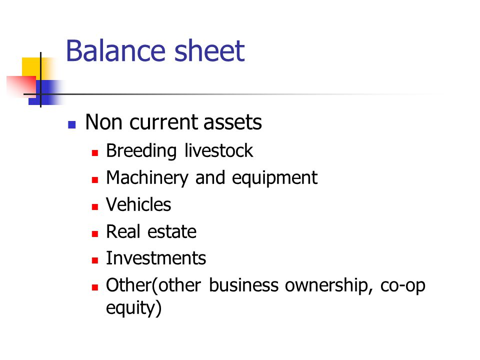 Balance sheet Non current assets Breeding livestock Machinery and equipment Vehicles Real estate Investments Other(other business ownership, co-op equity)
