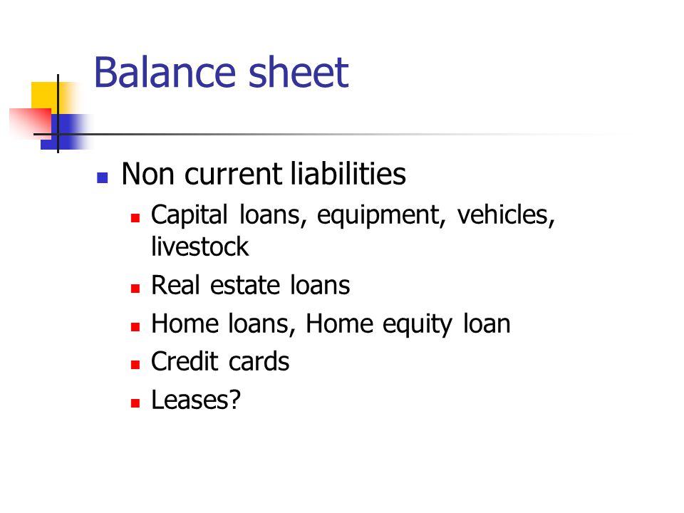 Balance sheet Non current liabilities Capital loans, equipment, vehicles, livestock Real estate loans Home loans, Home equity loan Credit cards Leases