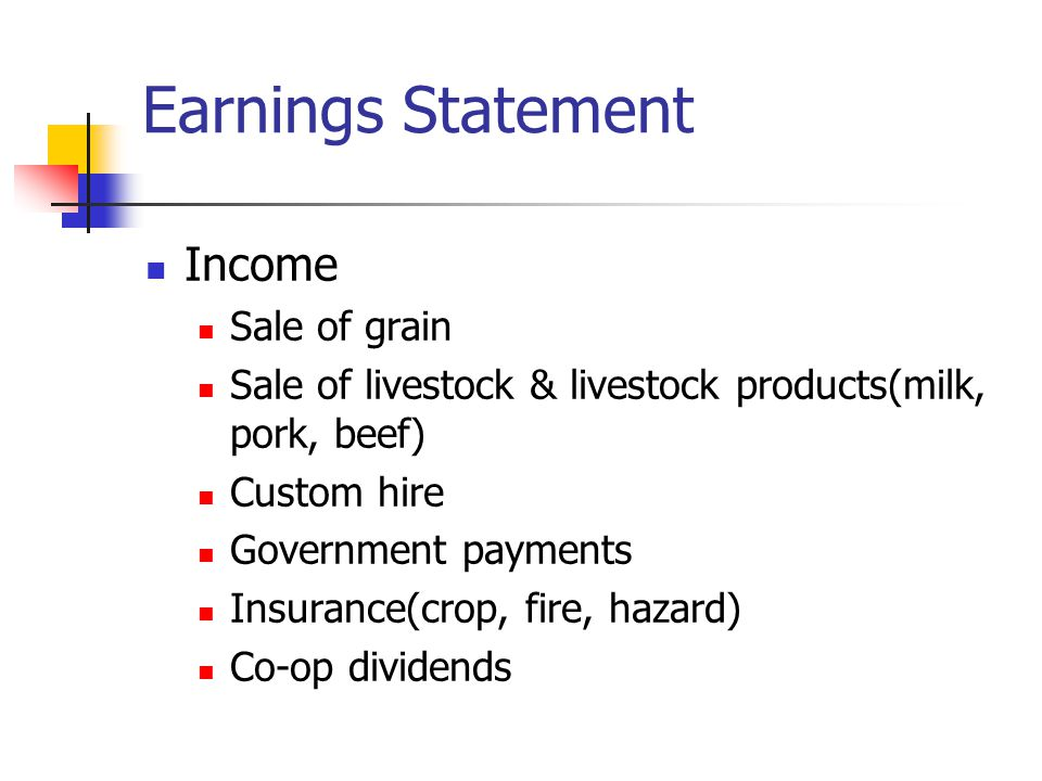 Earnings Statement Income Sale of grain Sale of livestock & livestock products(milk, pork, beef) Custom hire Government payments Insurance(crop, fire, hazard) Co-op dividends