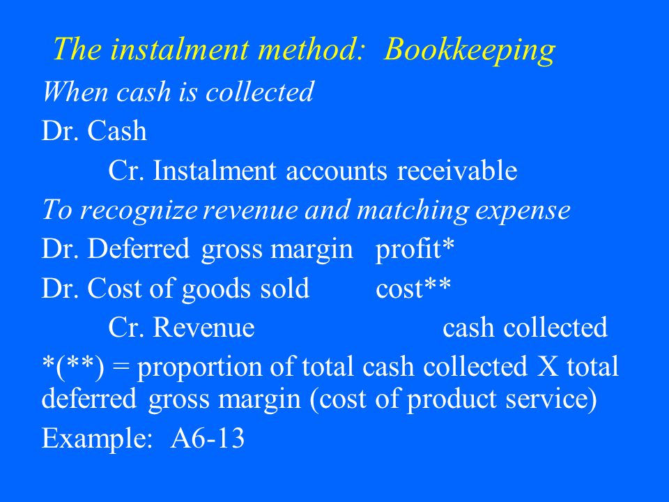 The instalment method: Bookkeeping When cash is collected Dr.