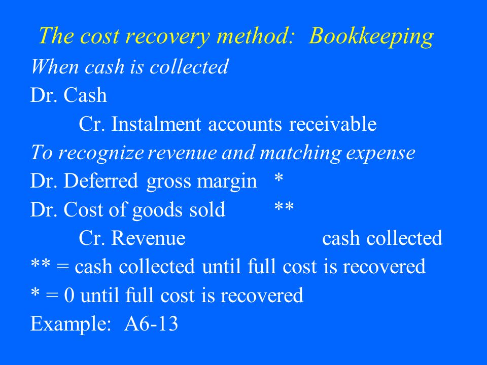 The cost recovery method: Bookkeeping When cash is collected Dr.