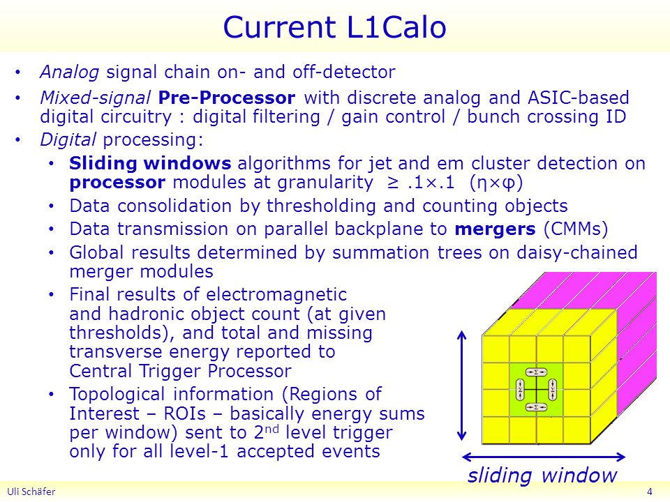 Current L1Calo Analog signal chain on- and off-detector Mixed-signal Pre-Processor with discrete analog and ASIC-based digital circuitry : digital filtering / gain control / bunch crossing ID Digital processing: Sliding windows algorithms for jet and em cluster detection on processor modules at granularity ≥.1×.1 (η×φ) Data consolidation by thresholding and counting objects Data transmission on parallel backplane to mergers (CMMs) Global results determined by summation trees on daisy-chained merger modules Final results of electromagnetic and hadronic object count (at given thresholds), and total and missing transverse energy reported to Central Trigger Processor Topological information (Regions of Interest – ROIs – basically energy sums per window) sent to 2 nd level trigger only for all level-1 accepted events Uli Schäfer 4 sliding window