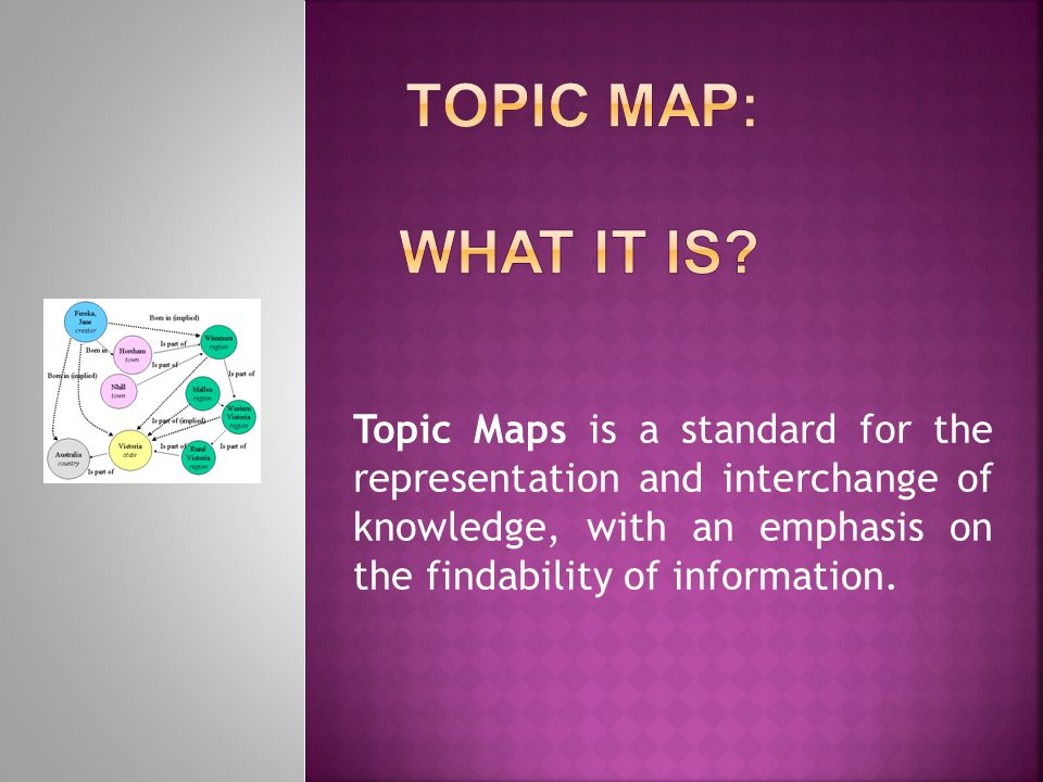 Topic Maps is a standard for the representation and interchange of knowledge, with an emphasis on the findability of information.