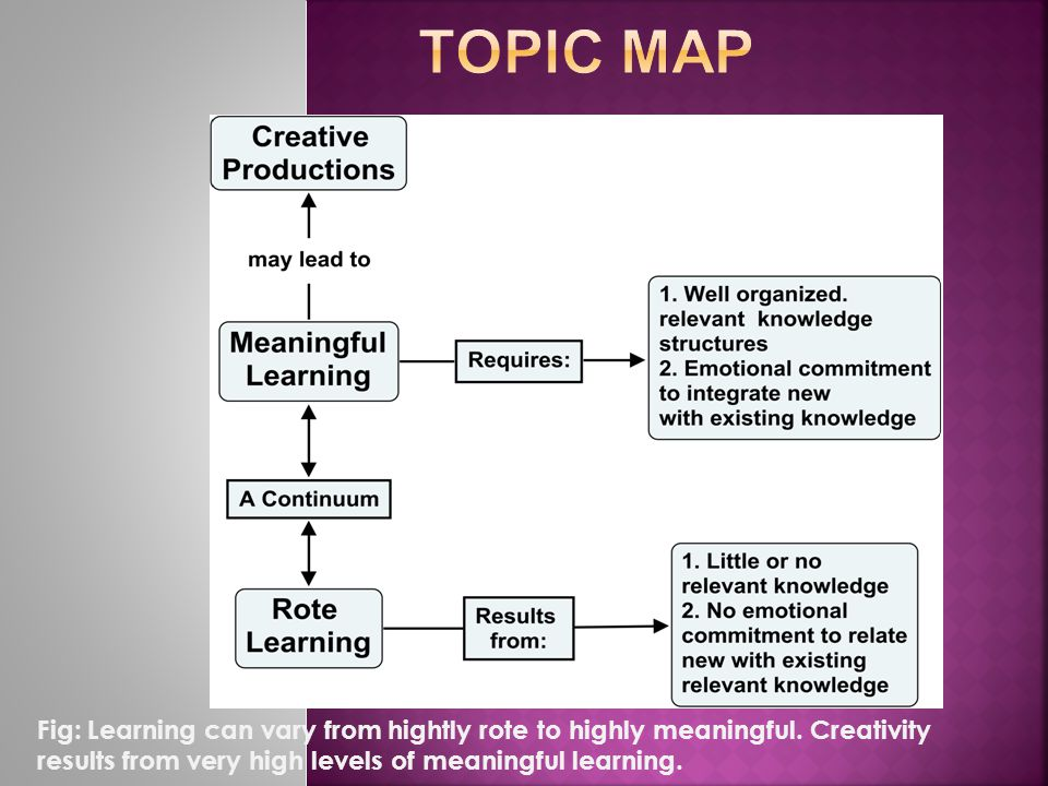 Fig: Learning can vary from hightly rote to highly meaningful.