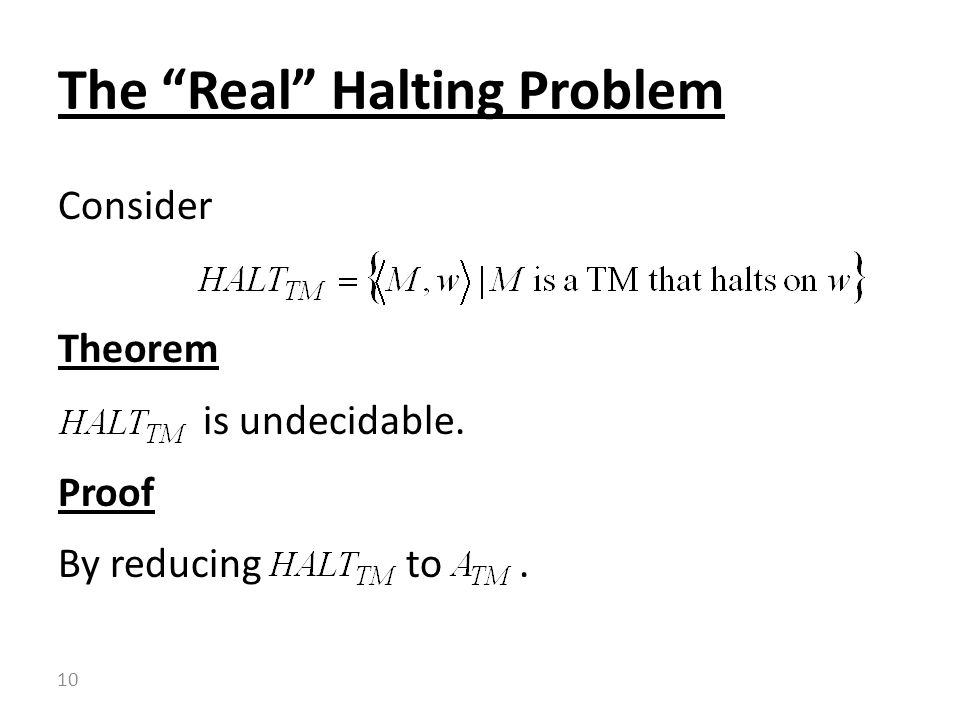 Consider Theorem is undecidable. Proof By reducing to. The Real Halting Problem 10