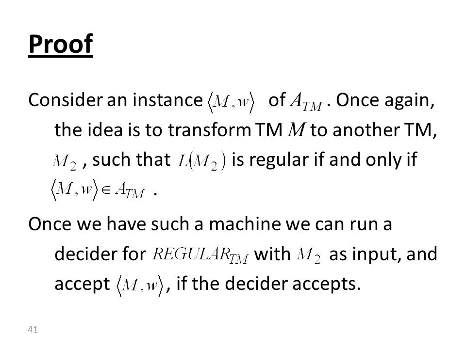 Consider an instance of A TM.